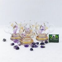 Glass Mugs With Etched Grape Leaf Motif Set of 4