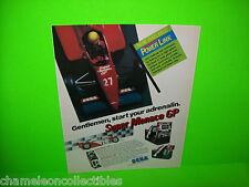 SUPER MONACO GP By Sega 1989 ORIGINAL Video Arcade Game PROMO Ad Not A Flyer