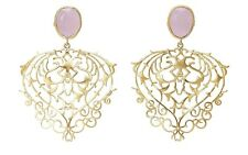 Brand New Vintage Look Handmade Rose Quartz & Gold Plated Leaf Design Earrings