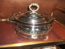 MARINEX GLASS DISH + VIKING SILVER PLATED PIERCED HOLDER HANDLES & LID PAW FEET