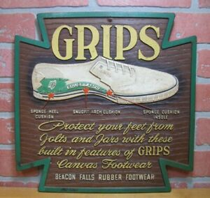 Old BEACON FALLS RUBBER FOOTWEAR 'GRIPS' Canvas Sneakers Shoe Store Ad Sign USA