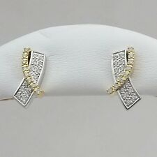 14K 2 tone Gold NEW .50ctw Pave Diamond Awareness Ribbon Stud Earrings 3.8gr