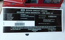 Land Rover Discovery Defender 90 NAS V8 4.0 1997- Engine Model ID Decal AWR5981