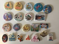 Large Disney Vintage Button Pin Lot - Mickey, Snow White, Happy Birthday & More