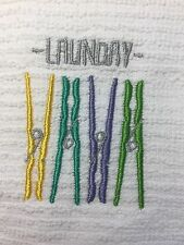 Embroidered Kitchen Bar Hand Towel BS0508 LAUNDRY Clothes Pins- Laundry Room