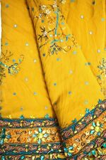 Vintage 100% Pure Saree Georgette Sari Embroidered Clothing Antique Sarong