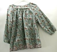 G H Bass & Co Womens Large Top Casual Long Sleeve Floral Print V-Neck Blouse