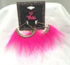 Betsey Johnson XOX Trolls Pink Faux Fur 1/2 Round Semi-Circle Fan Hoop Earrings