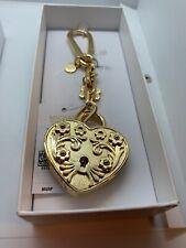 $38 Michael Kors Gold Tone  heart charm key ring purse charm FOB A2