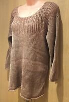 Ladies Poetry Size 12 Jumper Sweater 100% Linen Rose Dusky Pinky Gold Loose Knit