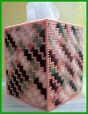 BROWN GREEN ORANGE MELON HANDMADE PLASTIC CANVAS TISSUE BOX COVER TOPPER