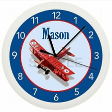 Airplane Wall Clock Team Personalized Nursery Child Boys Bedroom Gift Decor Red