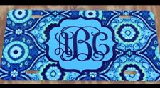 Monogram License Plate Blue Paisley Personalized Car Tag New