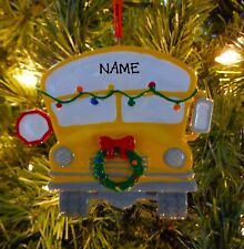 School Bus With Christmas Wreath First Personalized Christmas Ornament