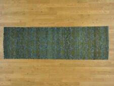 "2'5""x7'9"" Wool and Silk Tone on Tone Damask Runner Handmade Oriental Rug R27235"