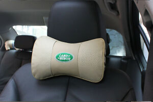 2Pc Beige Real Leather Car Seat Neck  Pillow Car Headrest Fit For land rover Car