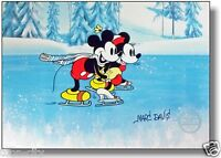 Disney Sericel Signed MARC DAVIS Mickey Mouse Minnie On Ice  FREE Background Cel