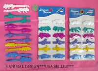 LOT OF 3,6,12 PACK--12 COUNT ANIMAL HAIR BARRETTES,PONYTAIL HOLDERS