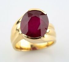 14k Yellow Gold Custom Cast Natural Ruby Solitaire Ring Size 5.5 TRW = 9.92 ct