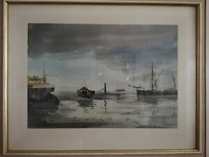 Signed watercolour painting Sydney Vale nautical picture