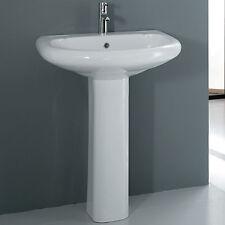 Lavabo con colonna 65 cm bianco in ceramica monoforo vasca capiente arredo bagno