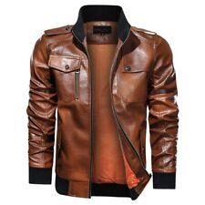 Men's Faux Leather Stand collar Slim Fit Bomber Jacket Biker Occident Zipper L