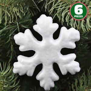 6 Appendini Fiocchi Di Neve In Polistirolo 22 cm Bianchi Decorazioni Natalizie