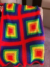Handmade Afghan Crochet Blanket Rainbow Pride 87X64