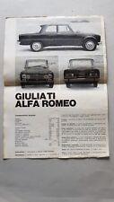 Alfa Romeo Giulia TI 1600 1966 depliant originale italiano brochure