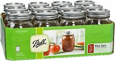 Ball Reg Mouth Pint Canning Mason Jars, Lids & Bands Clear Glass, 16Oz 12-Pack