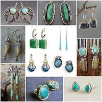Vintage 925 Silver Turquoise Gems Ear Stud Hoop Dangle Earrings Wedding Jewelry