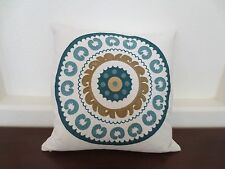 Feather Filled OVERSTUFFED  18x18  Aqua White  Embroidery Accent  Décor Pillow
