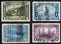 Canada Dollar Stamps - Scott 177,227,245,262 - Used F/VF