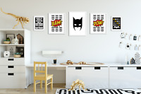 Set of 5 Batman Prints / Pictures for Boys Room / Playroom / Bedroom