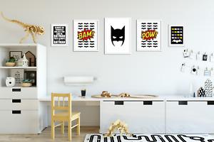 Set of 5 Batman Prints / Pictures for Boys Room / Playroom / Bedroom