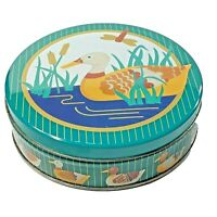 Chocolate Ducks Springwater Cookie Co Empty Tin Canister Pond Scene Round