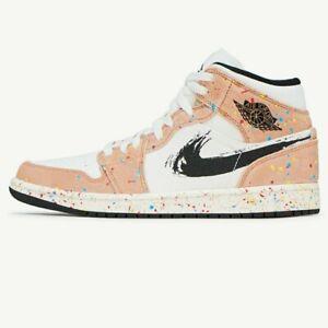 Size 12 New Nike Air Jordan 1 Mid SE Brushstroke Paint DA8005-100 Same Day Ship