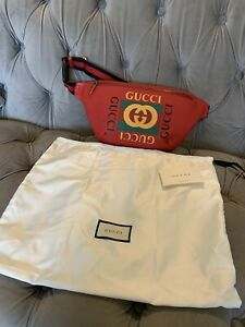 Brand New Gucci Red Large Leather Bum Bag Waist Pack Dustbag Shoulder RRP £875