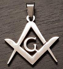 Silver Masonic Mason Watch Chain Fob or Pendant Square and Compasses Freemason
