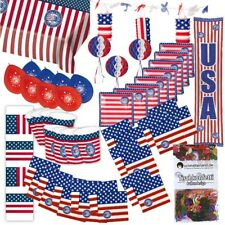 Partybox USA Amerika Party 50-teilig Deko Stars and Stripes Partypaket