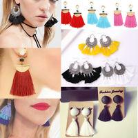 Vintage Women Jewelry Boho Long Tassel Fringe Drop Dangle Earrings Fashion Gift