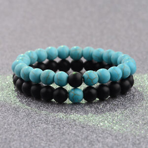 Couple His&Hers Distance Bracelets Lava Bead Turquoise Matching YinYang Jewelry