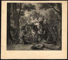 Antique Print-Don Quijote-Quichot-Sancho-De ceit-Donkey-Haussard-Coype l-1724
