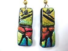 EARRINGS ENGRAVED MUTICOLOR DICHROIC FUSED STAINED GLASS DANGLES  LJG&AAG#431