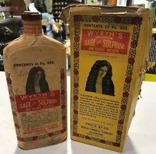 Antique Wyeth's Sage & Sulphur Compound Bottle Full Bottle w/ Original Box