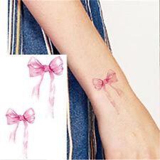 Pequeño Pink Bow Cinta Boda realista Tatuaje Temporal Mujer Hombre Niños