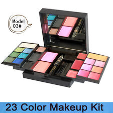 23 color makeup eyeshadow blusher lip gloss palette set kit with pencil & brush
