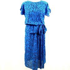 Citilites Blue Vintage Short Sleeve Summer Tea Dress 10 12 Cinch Waist Peplum