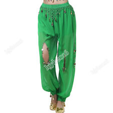 Belly Dance Costume Pants Long Bead Coins Chiffon Indian Trousers Halloween #08