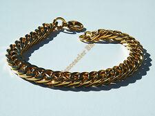 Bracelet 22 cm Acier Inoxydable Doré Plaqué Or Maille Gourmette 8 à 9 mm Rap